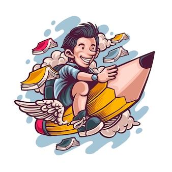 Student vliegt op een potlood gaat naar school