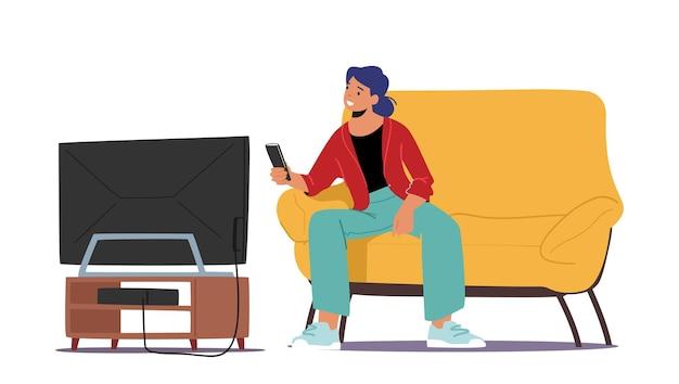 Student vrouwelijk personage tv-kijken in slaapzaal