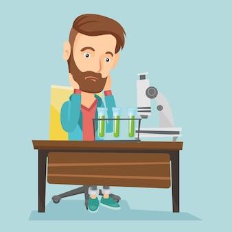 Student werkt in laboratoriumklasse.