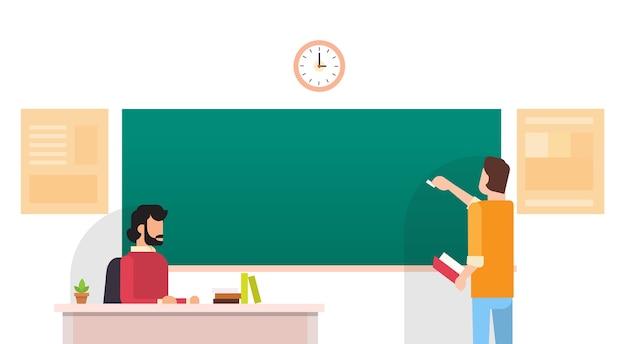 Student write chalkboard university education