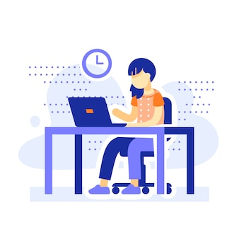 Student zit aan bureau, school meisje huiswerk achter computer, online leren, onderwijs op afstand