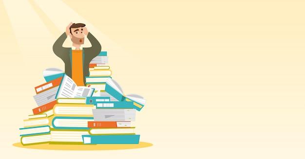 Student zit in enorme stapel boeken.