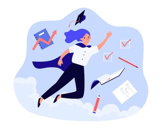 Studente als superheld die in de lucht vliegt. glimlachende vrouw enthousiast over afstuderen. toekomstige carrière, onderwijssuccesconcept. platte vector cartoon illustratie, webpagina landing.