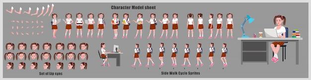 Studente character design model sheet met gangcyclusanimatie. meisje characterdesign. voor-, zij-, achteraanzicht en uitleganimatie-poses. tekenset met verschillende weergaven en lipsynchronisatie
