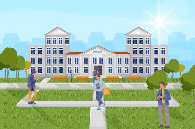 Studenten aan de universiteit buitenshuis