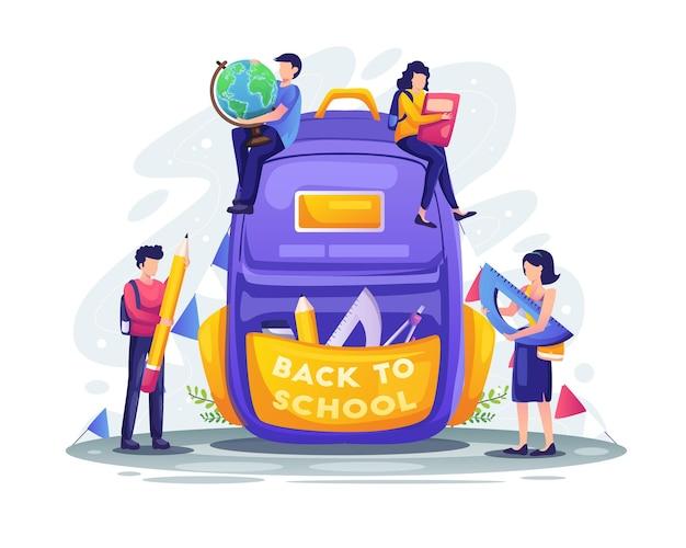 Studenten bereiden zich voor om terug naar school te gaan met een gigantische schoolrugzak met benodigdhedenillustratie