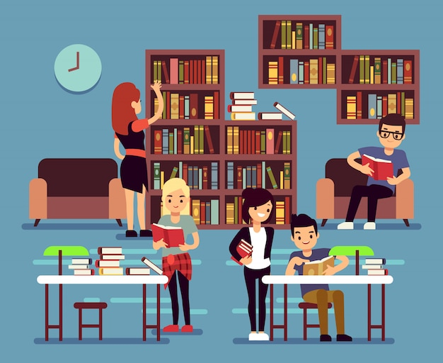 Studenten bestuderen in bibliotheekinterieur