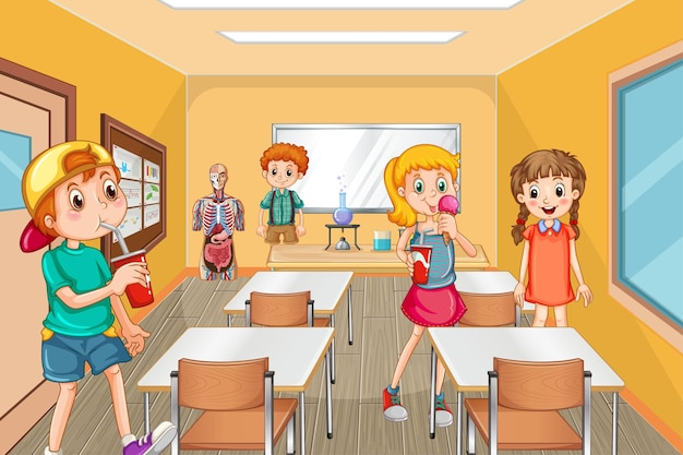 Studenten brengen tijd door tijdens de pauze in de klas