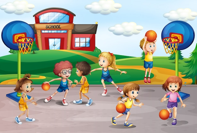 Studenten die basketbal in lichamelijke opvoeding spelen