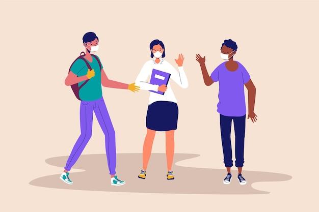 Studenten die geïllustreerde gezichtsmaskers dragen