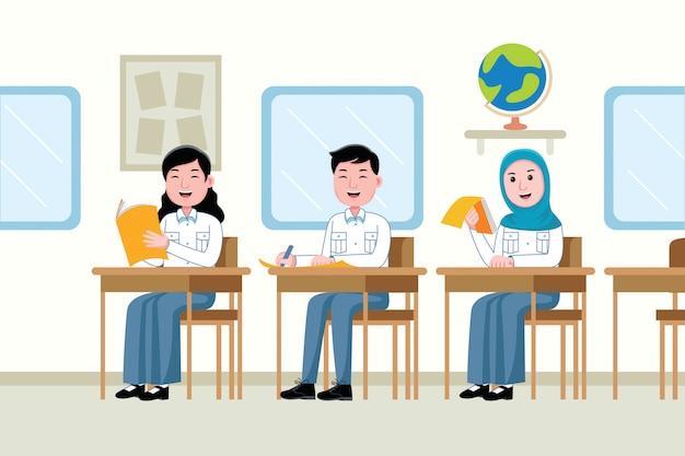 Studenten die in de klas studeren