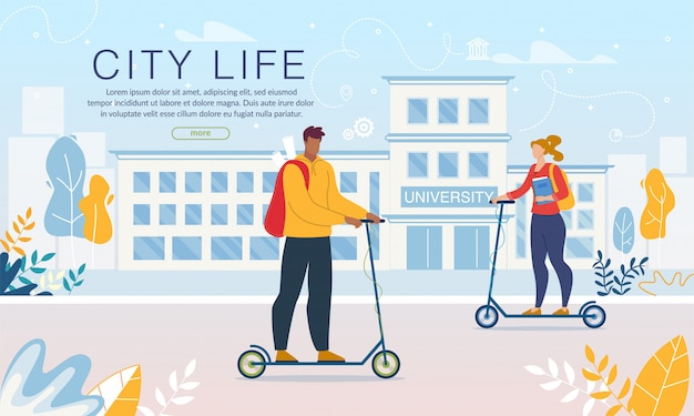 Studenten die milieuvriendelijk persoonlijk vervoer gebruiken