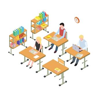 Studenten die werken in het bibliotheek isometrische concept