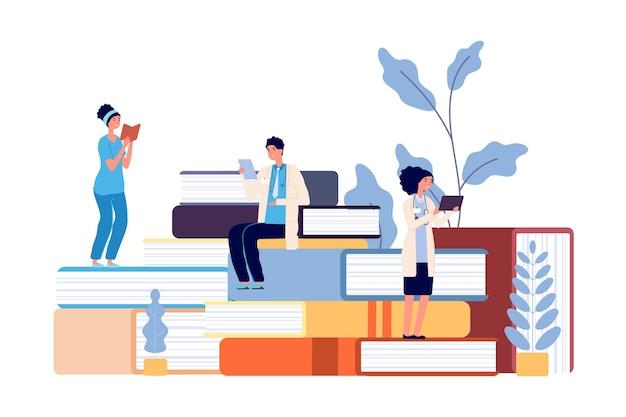 Studenten geneeskunde. artsen studeren, ziekenhuispersoneel dat boeken leest. opfriscursussen voor verpleegkundige, gezondheidszorg professor college vectorillustratie. medische studie, geneeskunde en gezondheid