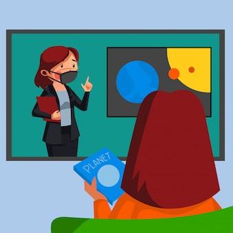Studenten hebben online wetenschapsklas met haar leraar