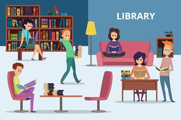 Studenten in bibliotheekscène