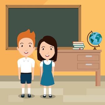 Studenten in de klas karakters
