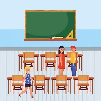 Studenten in de klas met schoolbord