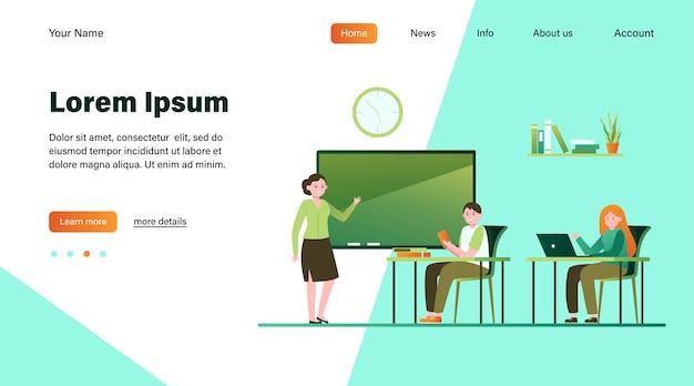 Studenten in de klas platte vectorillustratie. jonge stripfiguren luisteren leraar tijdens les op de universiteit. studie- en onderwijsconcept