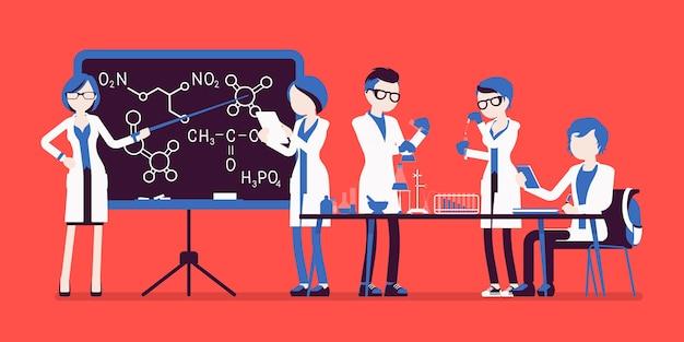 Studenten in het lab in verschillende poses