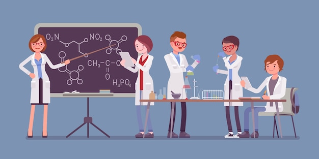 Studenten in het lab