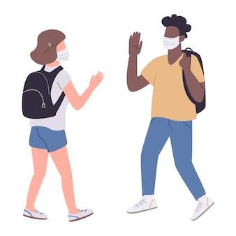 Studenten in medische maskers