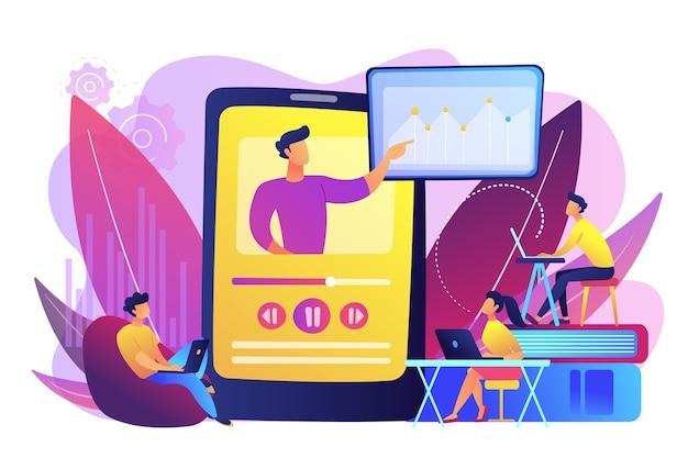 Studenten kijken naar online trainingsvideo met leraar en grafiek op tablet. online lesgeven, deel je kennis, online concept leraar engels.