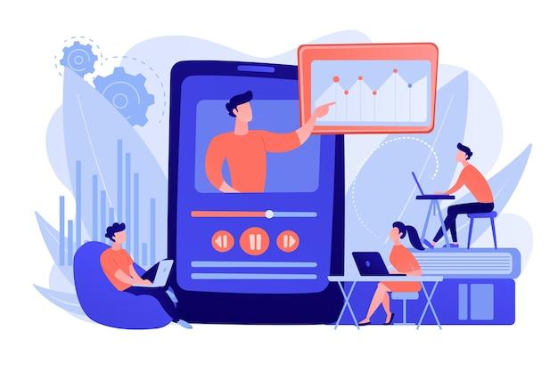 Studenten kijken naar online trainingsvideo met leraar en grafiek op tablet