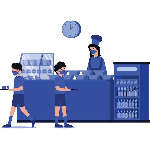 Studenten kopen hun maaltijden in de schoolkantine tijdens de les