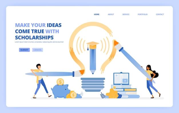 Studenten kunnen hun droom verwezenlijken door een educatief beursprogramma te volgen. illustratie concept kan worden gebruikt voor bestemmingspagina