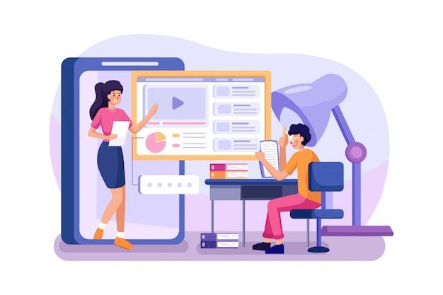 Studenten leren en bespreken met online leraar.