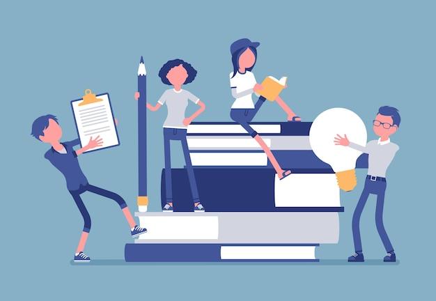 Studenten met gigantische boekenillustratie