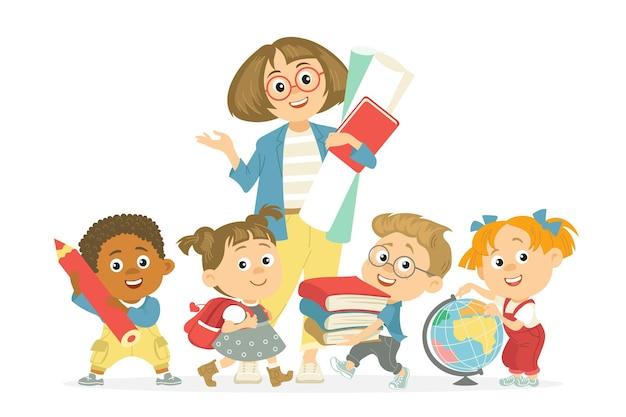 Studenten met leraar. kinderen met pedagoog, vrouw omringd door kinderen met bloemenboeket, basisschoolleerlingen, vectorconcept