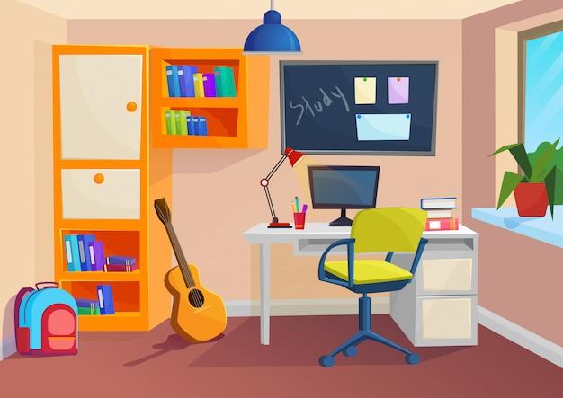 Studenten- of leerlingenkamer. werkplek in de kamer. vector cartoon volumetrische illustratie.