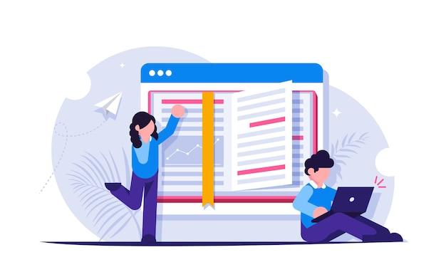 Studenten of schoolkinderen die leren op afstand. een open boek op het browsertabblad van de laptop