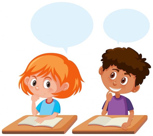 Studenten praten in de klas