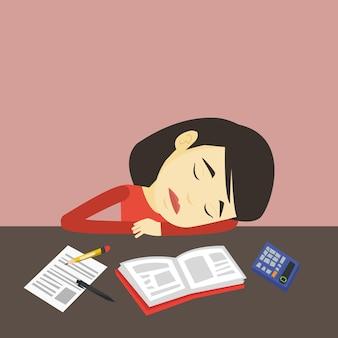 Studenten slapen aan de balie met boek.