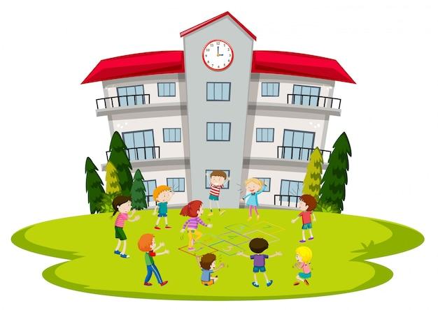Studenten spelen op school Premium Vector