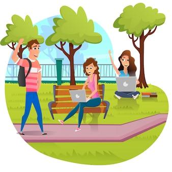 Studenten studeren op laptop in campus park cartoon