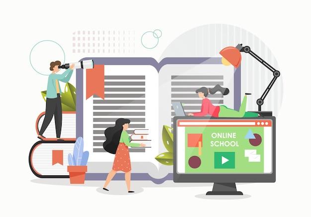 Studenten studeren thuis met behulp van computers