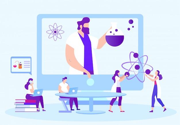 Studenten voeren chemische experimenten uit. docent online op monitor. afstand leren. e-learning.