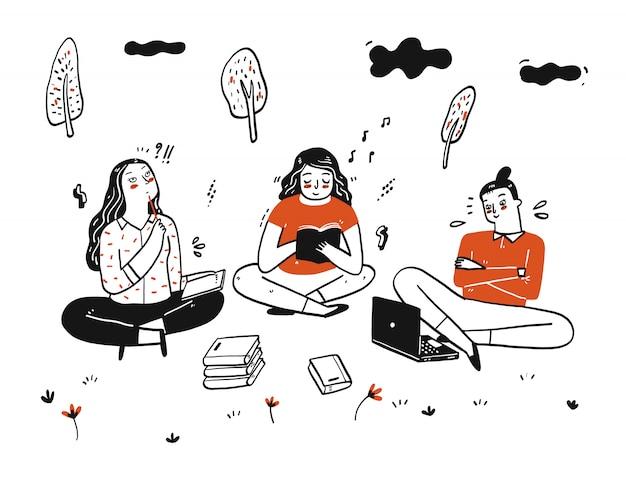 Studenten werken in een groep aard van teamwerk
