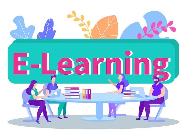 Studenten zitten achter de tafel met laptops en boeken. afstand leren. e-learning. man met laptop.