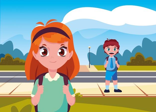 Studentenjongen en meisje in de straat