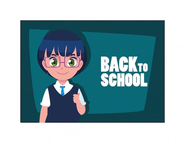 Studentenjongen met terug naar schooletiket, terug naar school