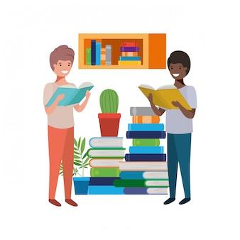 Studentenjongens met leesboek in de handen