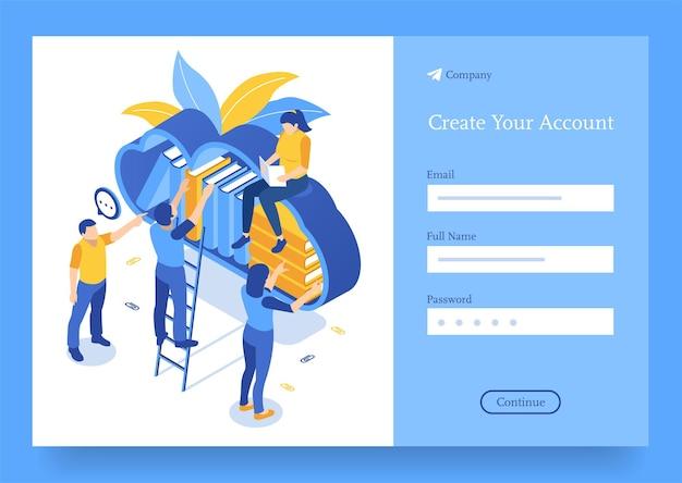 Studentenkarakters die thuis online leren karakterleesboek in online bibliotheek