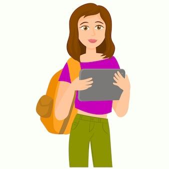 Studentenmeisje die tablet gebruiken