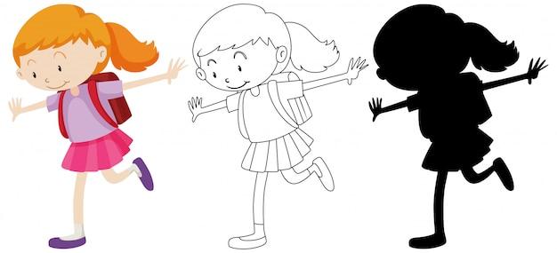 Studentenmeisje gelukkig in kleur en omtrek en silhouet