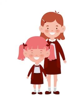 Studentenmeisjes die glimlachen